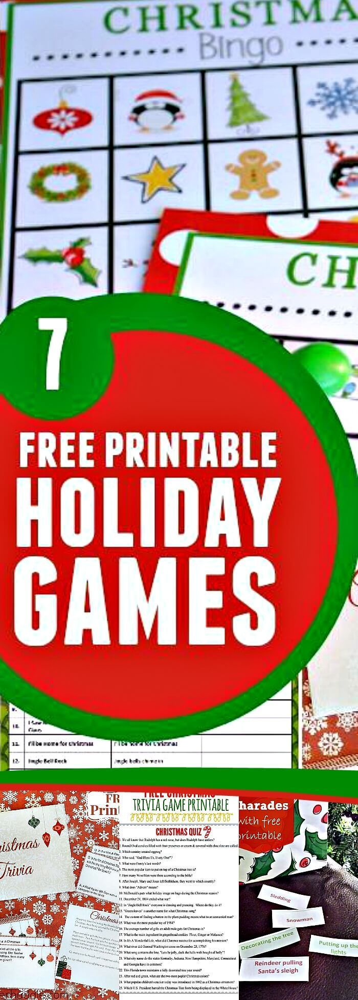 7 Free Printable Holiday Games, These Awesome Games Will Make Your Party Tons Of Fun, Click Through And Print Out Today!