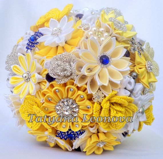 Brooch bouquet. Original handmade bridal bouquet in a royal blue and yellow. Flowers made of satin ribbon, decorated with jewelry. Bouquet decorated with