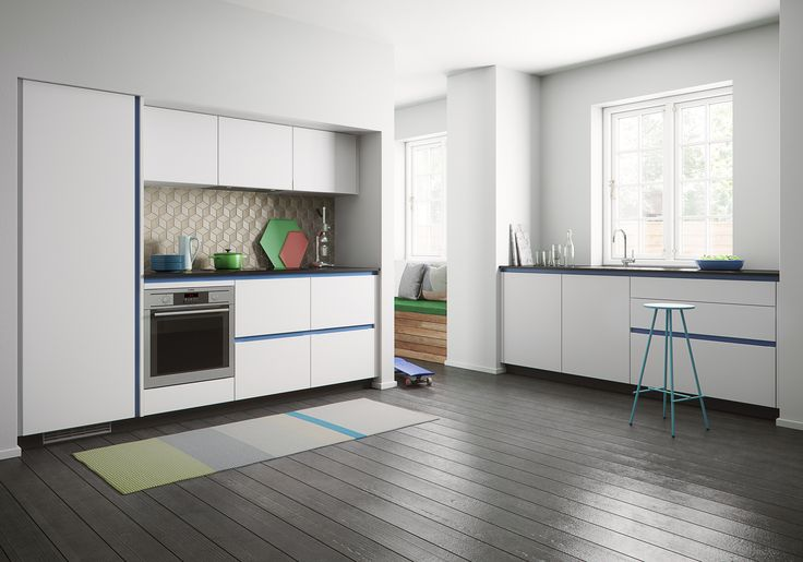 A new look for your kitchen with blue profiles, contrasting beautifully with the classic white doors.Kvik's Tinta doors are available in black or white, with scratch-resistant foil in ten different colours for the associated aluminium profiles, so you have plenty of scope for determining the style of your own kitchen.