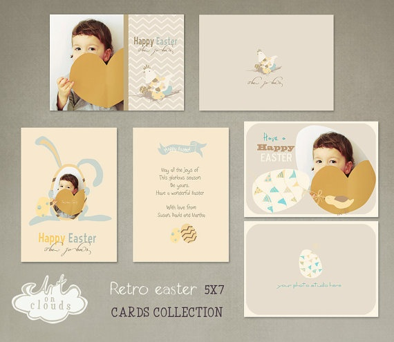 Retro easter 5x7 cards collection C001 by ArtonClouds on Etsy, $16.00