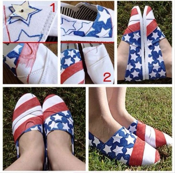 Diy American flag shoes