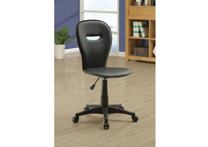 """Black """" Open Back """" Office Chair.  This Stylish Office Chair Will Add Cool Look And Comfort To Your Home Office. Not Only Is The Supportive Chair Back Stylish With Its Open Back, But It Also Provides Comfortable Seating. Additionally, There Are Casters Below The Sleek Black Base For Easy Mobility. Create A Functional And Stylish Home Office With This Casual Contemporary Office Chair..  Stylish Office Chair.  The Supportive Chair Back Stylish With Its Open Back, But It Also Provides...."""