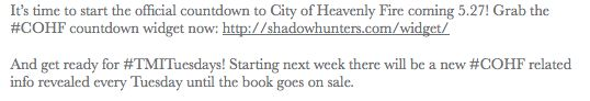 Get the COHF Countdown Widget & from now until the release be prepared for #TMITuesdays with COHF info revealed each week :)