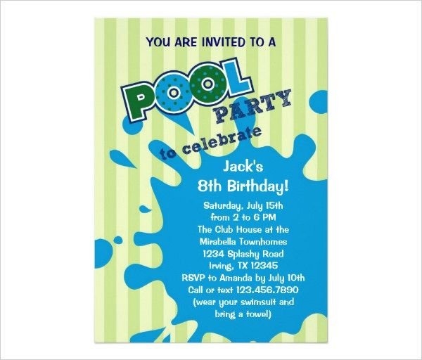 15 best Kids Pool Party Invitations images on Pinterest Pool - party invitation template word