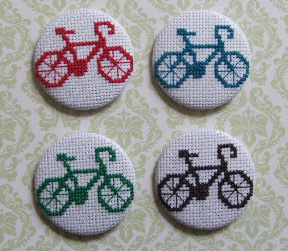 [Please Note: this listing is for just ONE bicycle brooch] ****************************************************** This is a cross stitch badge with a bicycle motif! I hand stitched this myself on white embroidery canvas. This is available in ANY COLOUR YOU WANT! Seriously - just let me know what colour you would like. The process is rather time consuming but I enjoy every minute! All items are made with love and care. Items are usually made to order. As they are all handmade e...