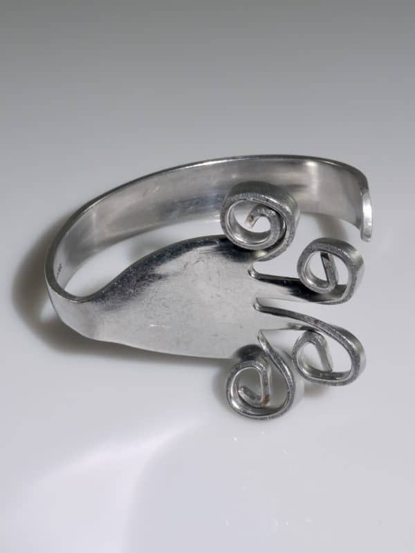 Vintage Beautiful Leonore Unique Fork Scroll Design Cuff Bracelet 925 Sterling Silver BR 3501