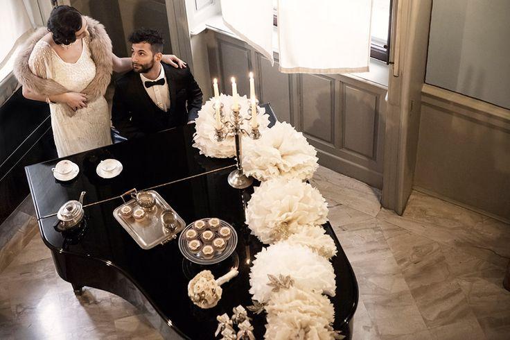 Gallery   Miss Wedding Design, wedding style, vintage liberty anni 20, allestimento pom pom e glitter, abiti Pronovias  Carlo Pignatelli