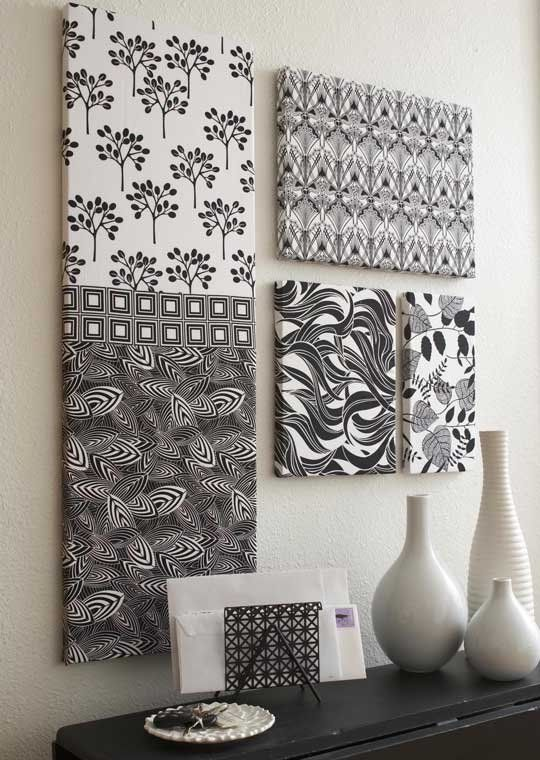 If you have fat quarters you can't bear to cut into small pieces, combine  them with larger pieces to cover purchased stretched artist's canvases.  Black-and-white florals and prints, such as these from the Night and Day 2  collection for Robert Kaufman Fabrics, make striking wall art.
