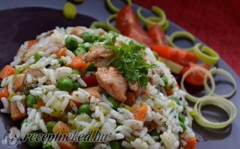 Gombás- zöldséges rizses hús