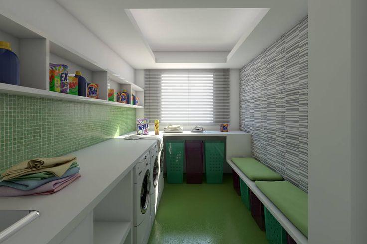 Verde no espaço das roupas? https://www.homify.pt/livros_de_ideias/17437/lavandarias-o-espaco-dedicado-ao-cuidado-das-suas-roupas  #verde #lavandaria #roupas