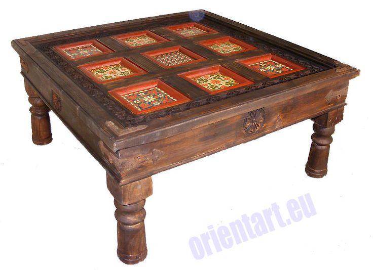 antik-look kolonialstil 100x100 cm orient Teetisch Tisch Couchtisch  PJ-NURNr-2