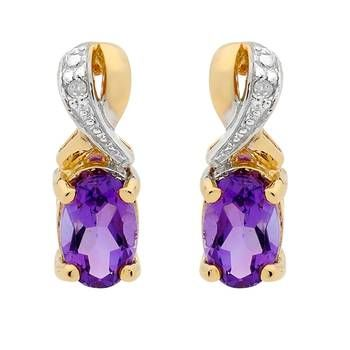 Add some colour with these Yellow Gold Amethyst & Diamond Stud Earrings Showcase Jewellers