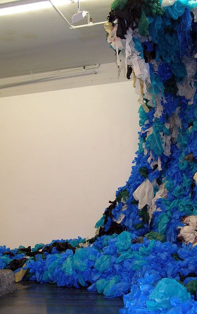 Kim Hollerman - Trashnami! - Chicken Wire and Plastic Shopping Bags - 20' x 10' x 5' - White Box, Chelsea NY - 2012
