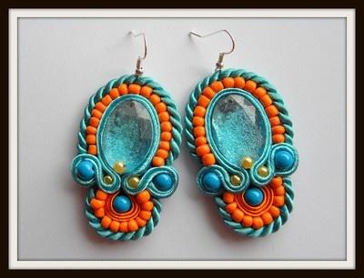 orange light blue soutache earrings