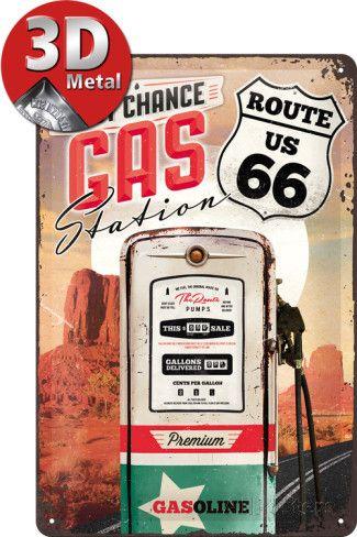 Route 66 Gas Station Plaque en métal sur AllPosters.fr