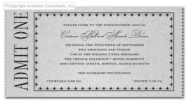 'Admit One Ticket' by Invitation Consultants