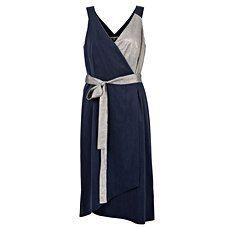Navy Artistic Metallic Wrap Dress   Oliver Bonas