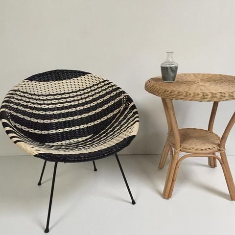 Black And White Vintage Satellite Atomic Wicker Chair