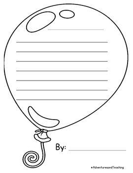 Balloon writing template. Cut out and put on construction paper and add it to a bulletin board or print on colourful paper!