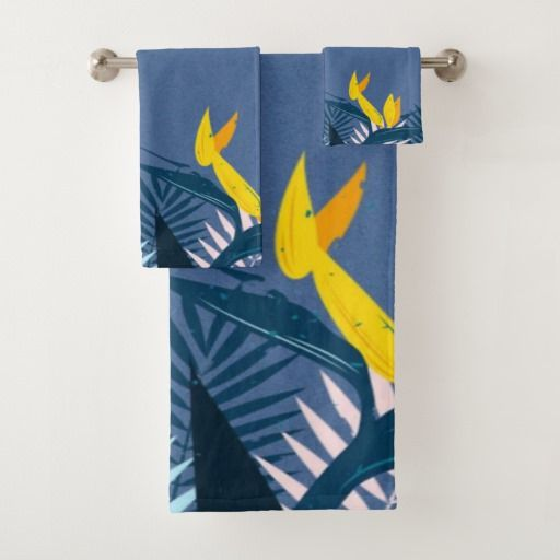 Modern Blue Tropical Paradise Bath Towel Set