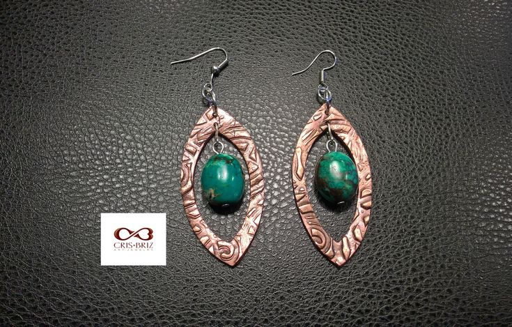 One of a kind copper dangles with African Turquoise stones. 50 Euro + shipping.