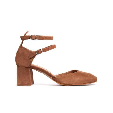 Reikan Tan Suede   Ankle strap heels, Ankle straps, Heels