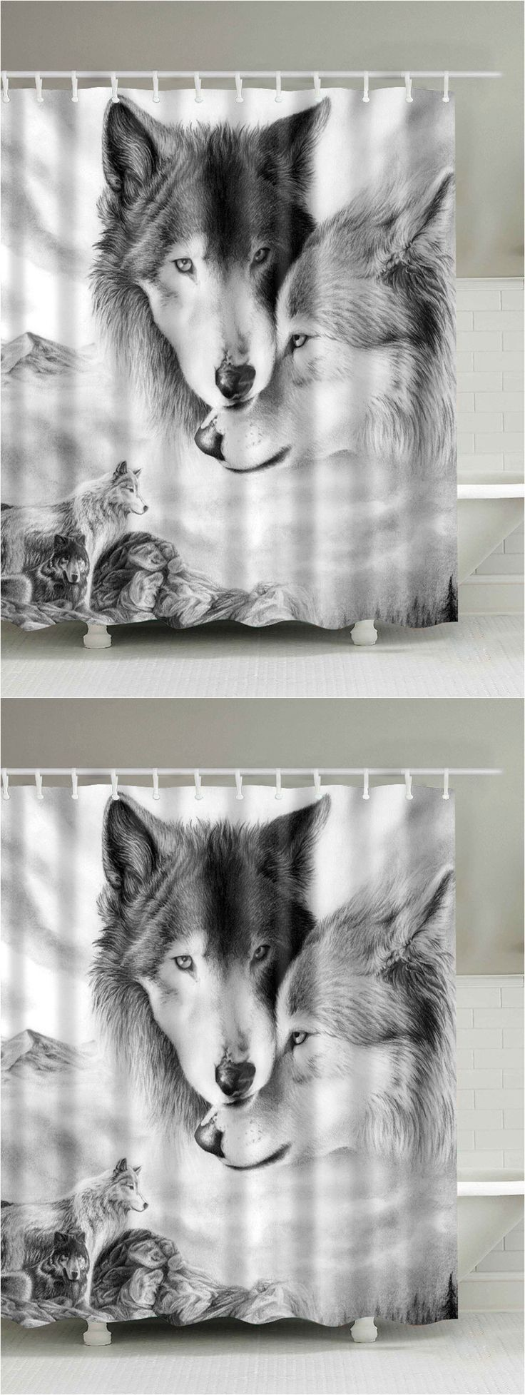 $12.39 Wolf 3D Digital Printed Shower Curtain - White Grey