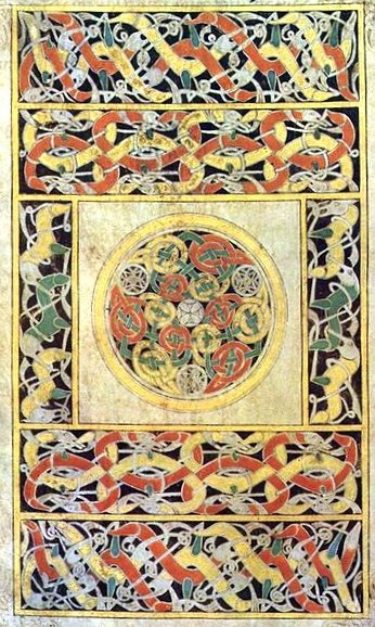 The Book of Durrow: 7th-century illuminated manuscript created between 650 and 700, in Durrow or Northumbria in Northern England, where Lindisfarne or Durham would be the likely candidates, or on the island of Iona in the Scottish Inner Hebrides. Like the Book of Kells, if it was not always in Ireland it was taken there, perhaps by monks fleeing the Viking attacks on Britain, and was certainly at Durrow Abbey by 916.