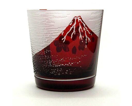 江戸硝子 赤富士に桜フリーカップ