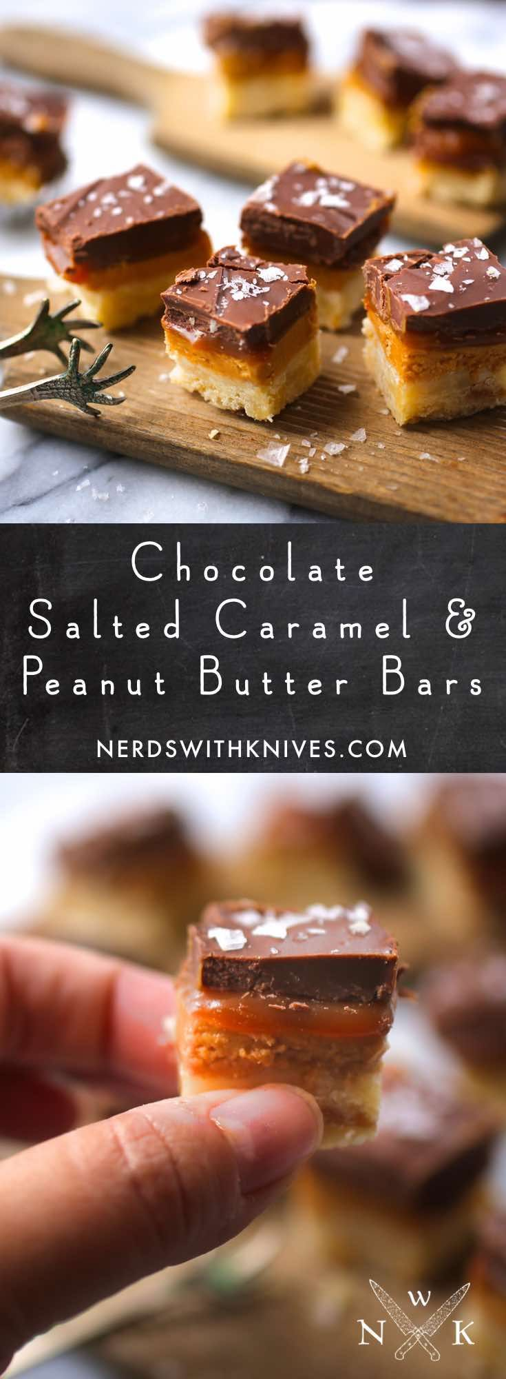 These salted caramel peanut butter bars – in miniature bite-size form – are about the best way to win over someone's heart. They may also offer you their kidneys, liver and spleen. They're that good.