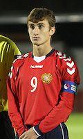 Gor Malakyan in the Scotland v Armenia UEFA European Under-19 Championship Qualifying Round match at New Douglas Park, Hamilton on 9.10.12.