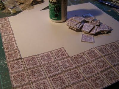 How To Make. Miniature floor tiles (linoleum style) with useful tips for realistic effects - tiles from printed glossy paper - real grout between pieces