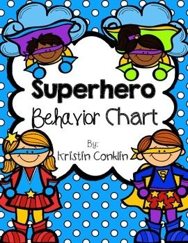 Superhero Behavior Chart Purple- Superhero Student (Outstanding Day)Blue- Superhero Sidekick (Great Day)Green- Ready to Fly (Ready to Learn)Yellow- Danger Zone (Think About Your Choices)Red- Kryptonite (Parent Contact)**This behavior chart is meant to be used on a pocket chart but can also be used with clothes pins.****Also included is a description of how the behavior chart is used in the classroom for parents.