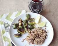 Pecan Tilapia and Baked Brussels - A Beautiful Mess