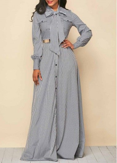 Tie Neck Stripe Print Button Up Maxi Dress | Rosewe.com - USD $36.20