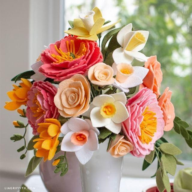 Wedding Diy Felt Flower Bridal Bouquet For Spring Felt Flower