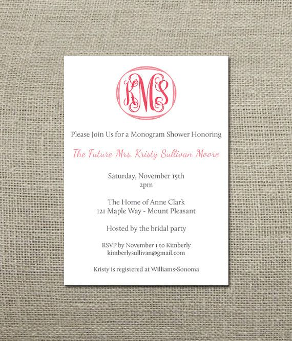 Traditional Monogram Wedding Shower Invitation By