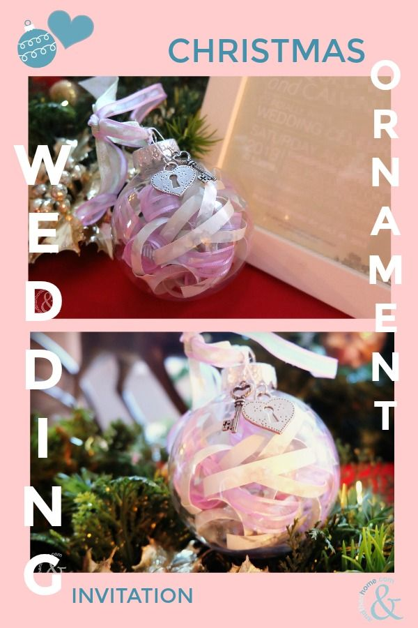 Make your own Wedding Invitation Christmas Ornament.  Use your own or save a friends invite and turn it into a beautiful gift they will enjoy for years!   #diyproject #diy #wedding #christmas #ChristmasTree #invitations #keepsake #andthenhome
