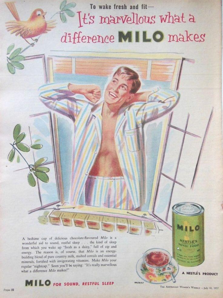 MILO FOOD TONIC AD 1957 original vintage retro AUSTRALIAN kitchen advertising