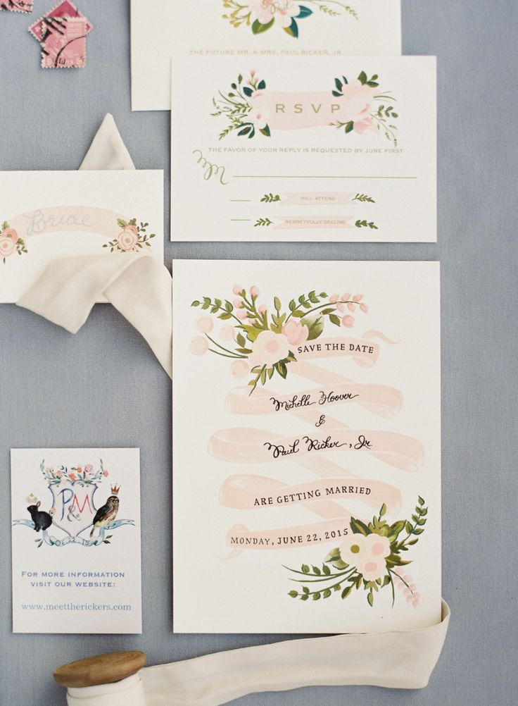 Floral wedding invitation suite | Photography: O'Malley Photographers