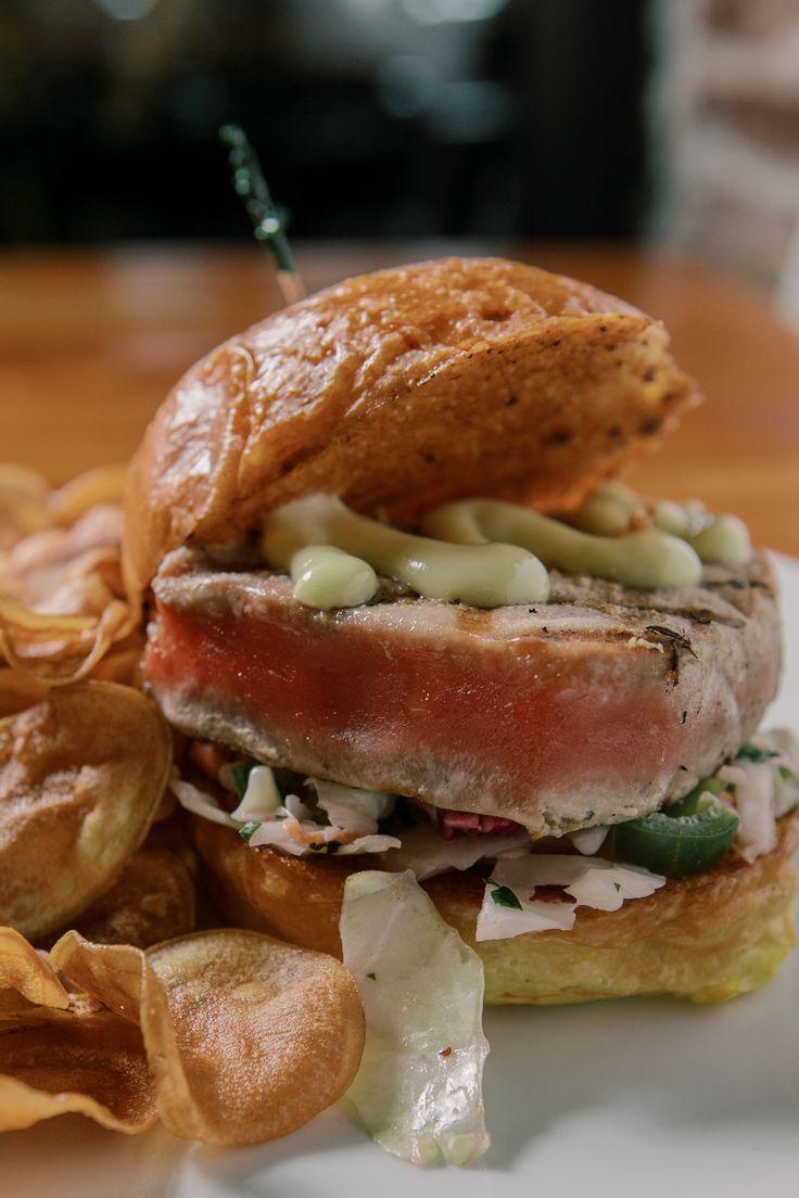Grilled ahi tuna sandwich cilantro slaw wasabi aioli