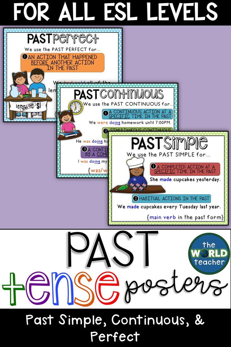 Esl past tense posters past simple past continuous