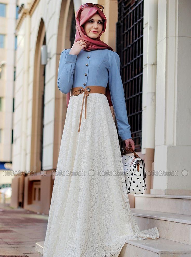 Eteği Dantelli Kot Elbise - Bej - Gamze Polat