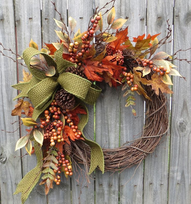 Fall Wreath Fall Berry Wreath Fall Leaf Wreath Fall