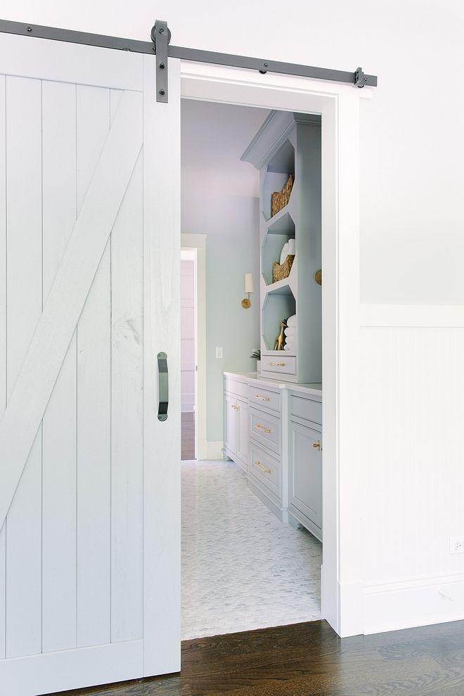 Barn Door Is Painted Benjamin Moore 1606 Cobblestone Path Interior Barn Doors Barn Door Designs Blue Bathroom Decor