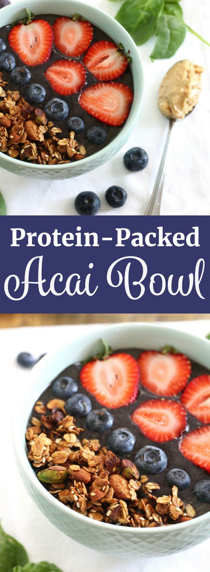 Protein Acai Bowl with Blueberries and Spinach! This recipe is gluten-free, vegan, and refined sugar-free! Plus, you can make it in under 5 minutes! // www.littlechefbigappetite.com // Protein Smoothie, Smoothie Bowl, Healthy Acai Recipe, Acai with Granola, Vegan Acai Recipe
