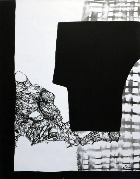 Szirtes János: Fekvő fa / Lying Tree, 1997, 100 x 80 cm, akril, vászon / acrylic on canvas
