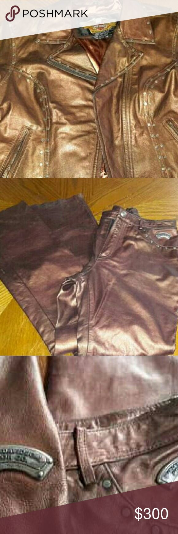 """HD Coat/Pant Suit RARE BROWN METALLIC Gorgeous Harley Davidson Jacket/Pant Set - BROWN LEATHER METALLIC w/ metal studs, & metal HARLEY BADGE on Jacket arm & above the pant pocket.  Jacket is women's Large, this is a very heavy & EXPENSIVE! Zippered arm cuffs, collar snaps down & the back of the jacket bottom is curved.  Pants are 33"""" long & are like chaps at the end, PANTS ARE PROBABLY ABOUT A SIZE 6. The set is very rare was customed ordered by a friend who owned a Harley store.  Set was…"""