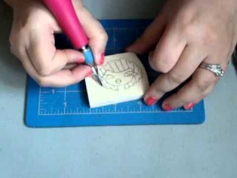 BEST stamp carving tutorial on the web; she covers from beginning (tracing your design) to end (stamping).  She makes it look so darn easy