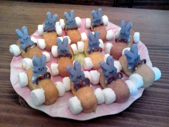 Easter desserts made from Twinkies, peeps, mini pretzels, and ...